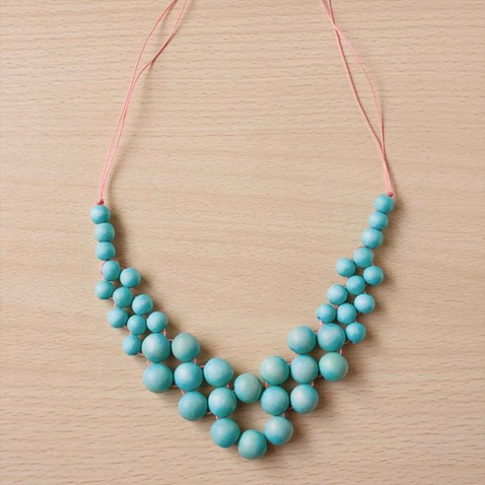 DIY Wooden Bead Statement Necklace