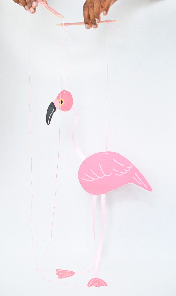 Make A DIY Pink Flamingo Marionette Puppet
