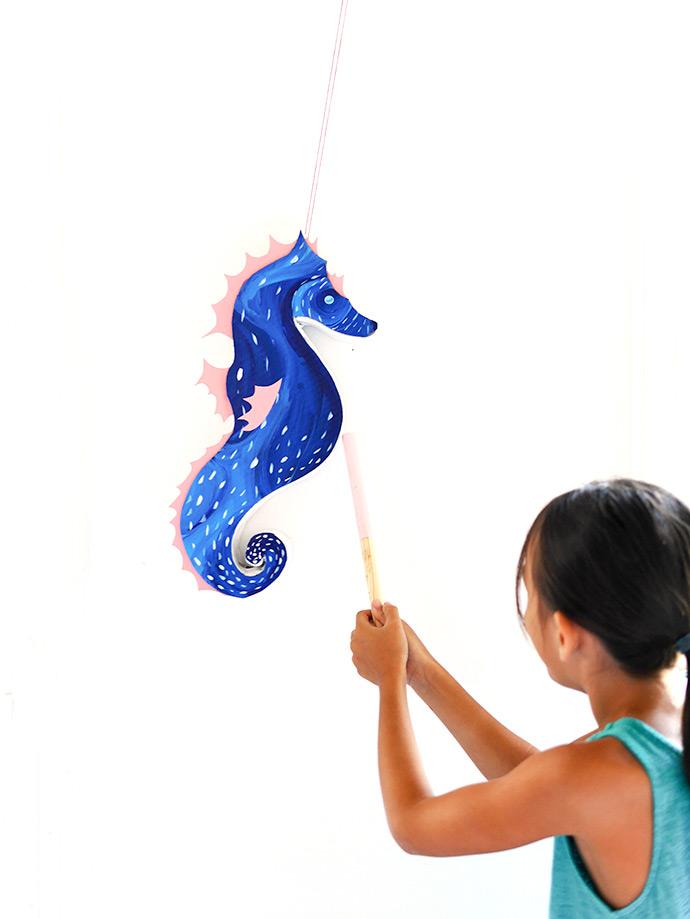 DIY Seahorse Pinata - Perfect for a kid's party!`