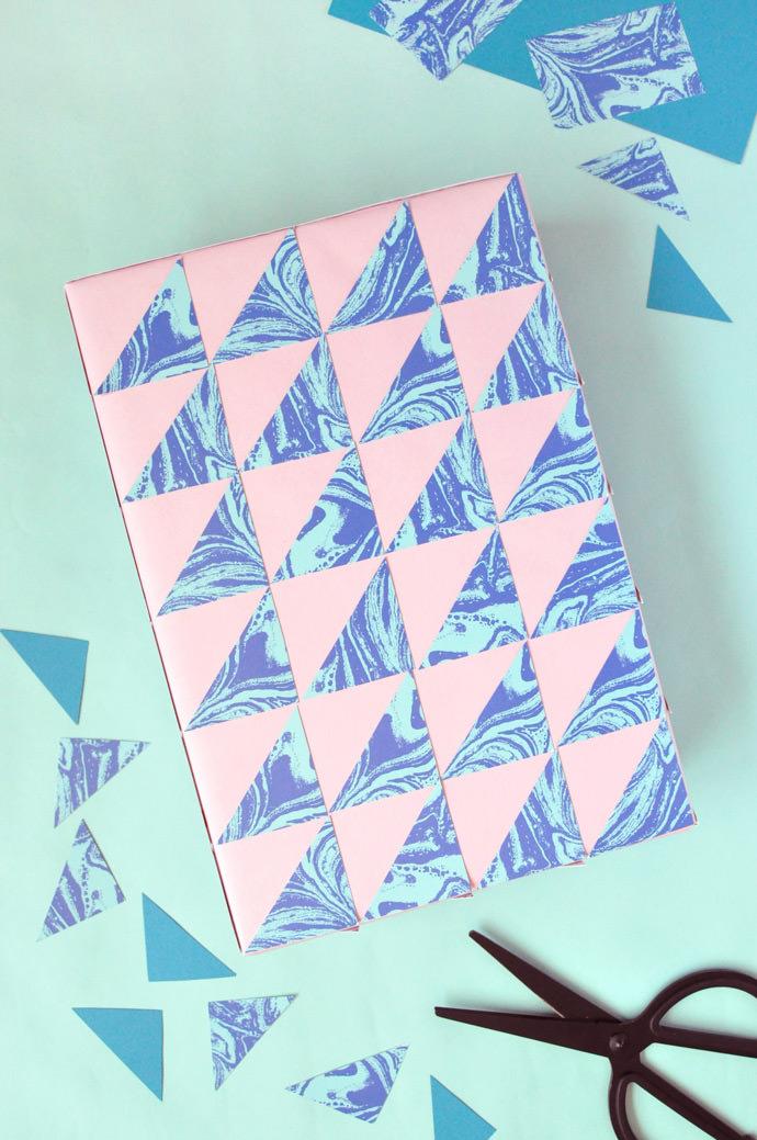 DIY Marbled Geometric Gift Wrap
