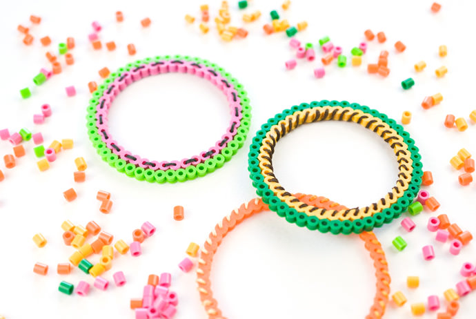 DIY Perler Bead Fruit Bracelets