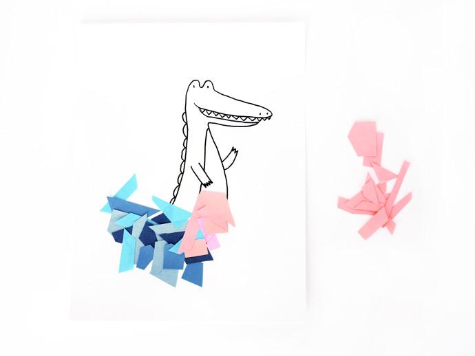 Crocodile Collage Art
