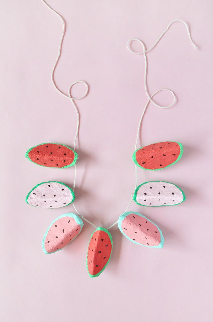DIY Paper Mache Watermelon Charms