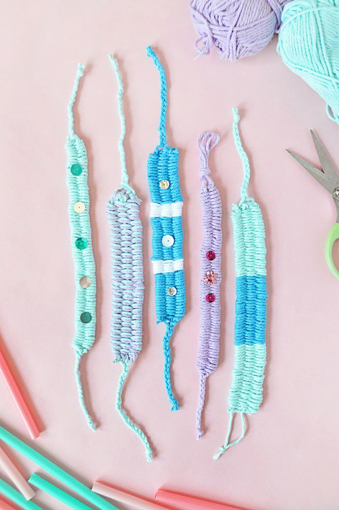 DIY Woven Yarn Friendship Bracelets