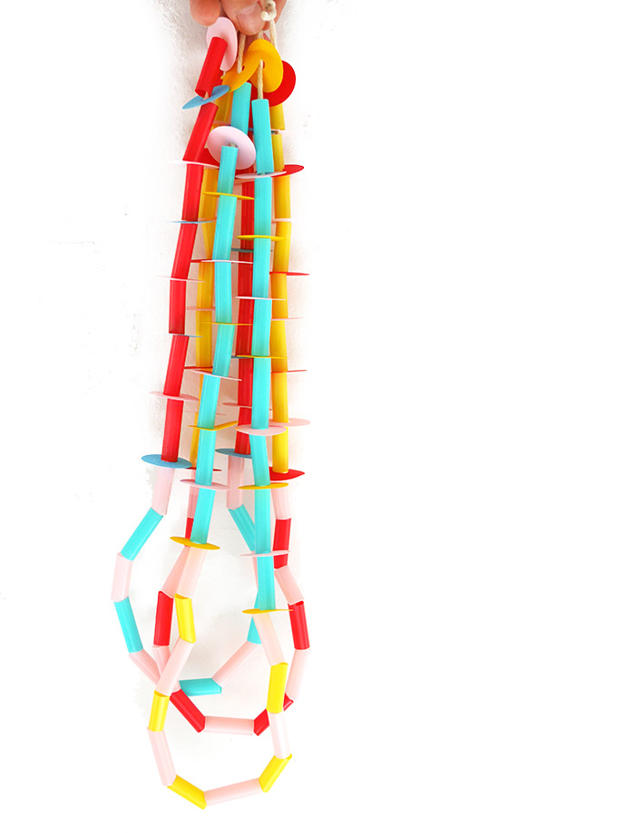 DIY Paper and Straw Necklaces