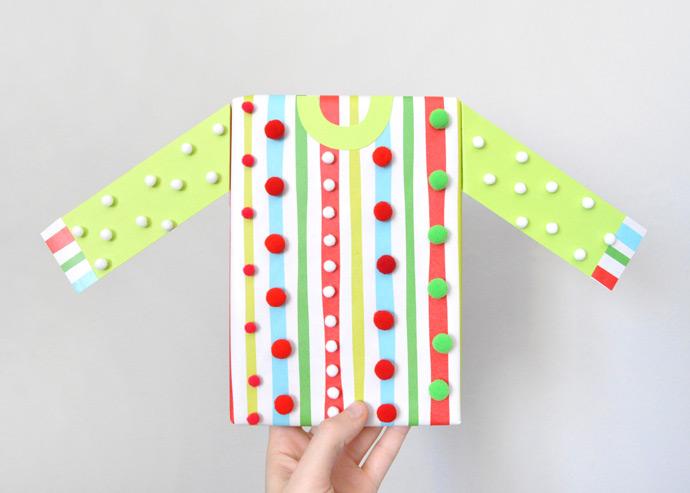 DIY Ugly Christmas Sweater Gift Wrap