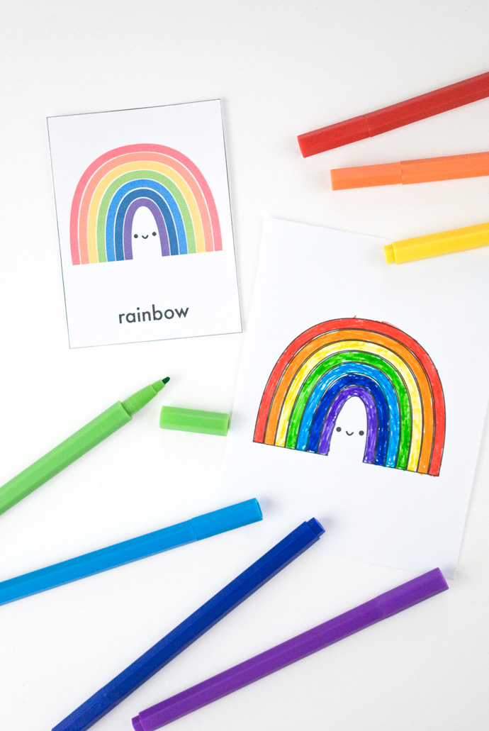 Printable Rainbow Color Matching Cards