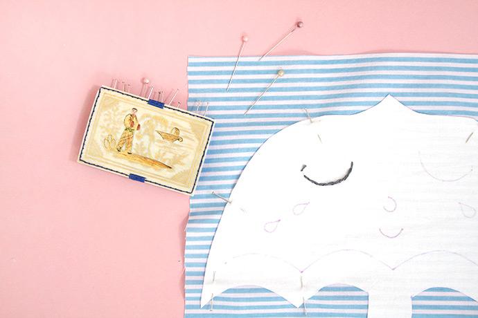 Embroidered Umbrella Pillow