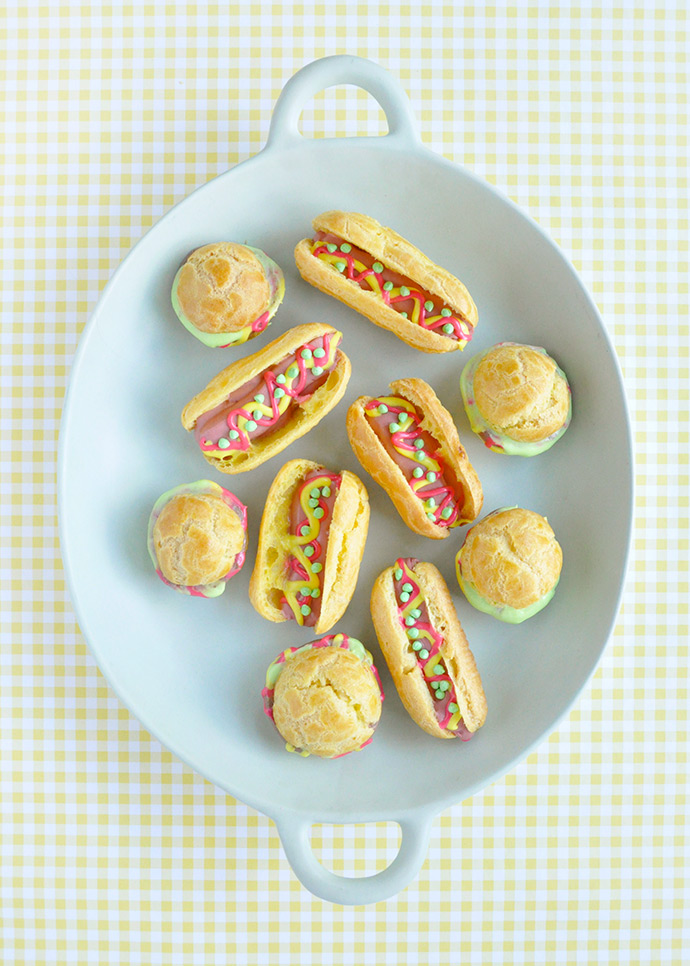 Hot Dog Eclairs and Hamburger Cream Puffs