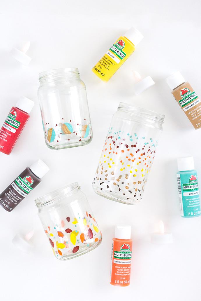 Painted Holiday Candle Jars Handmade Charlotte