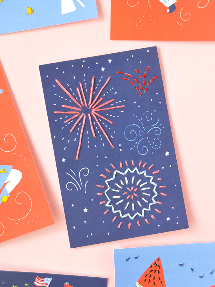 4th of July Stitching Cards