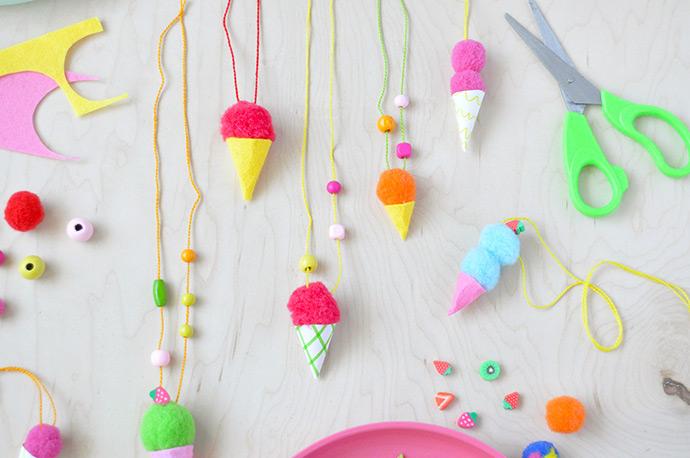 Pom Pom Ice Cream Necklaces