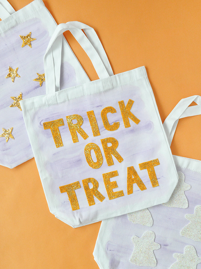 Watercolor & Glitter Trick or Treat Bags