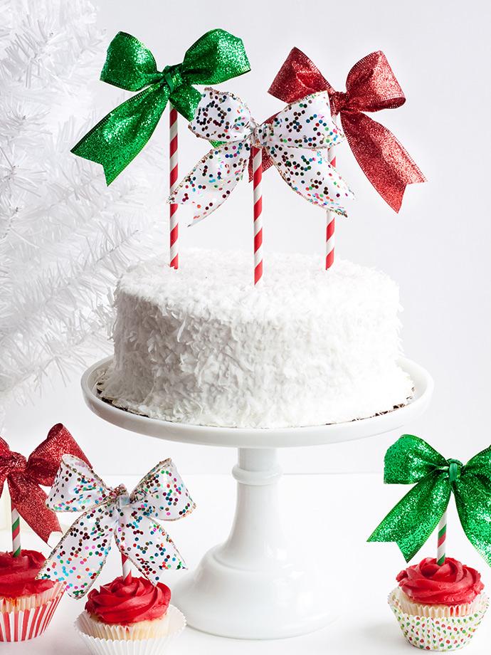 Christmas Bow Cake Topper