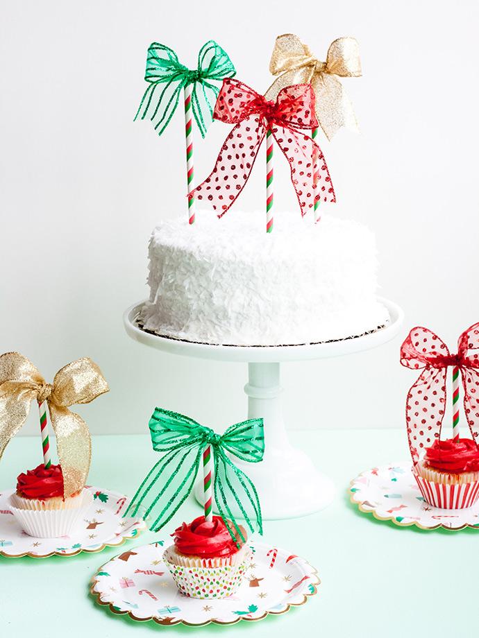 Christmas Bow Cake Toppers Handmade Charlotte