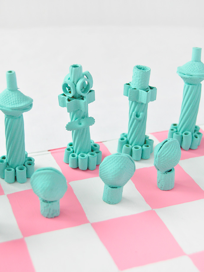 DIY Painted Pasta Chess Set