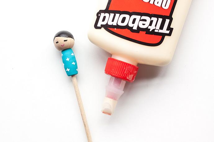 DIY Kokeshi Doll Stir Sticks