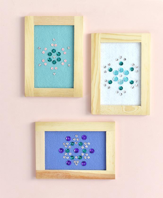 DIY Snowflake Sequin Art