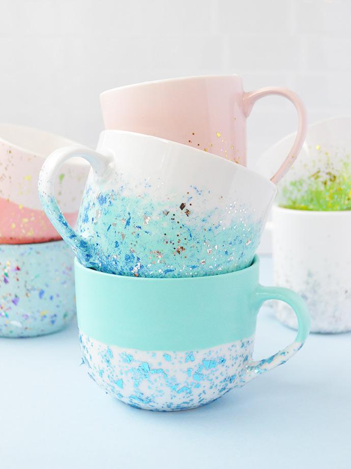 DIY Glitter Speckled Mugs