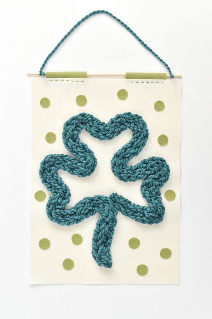 Finger-Knitted Shamrock Banner