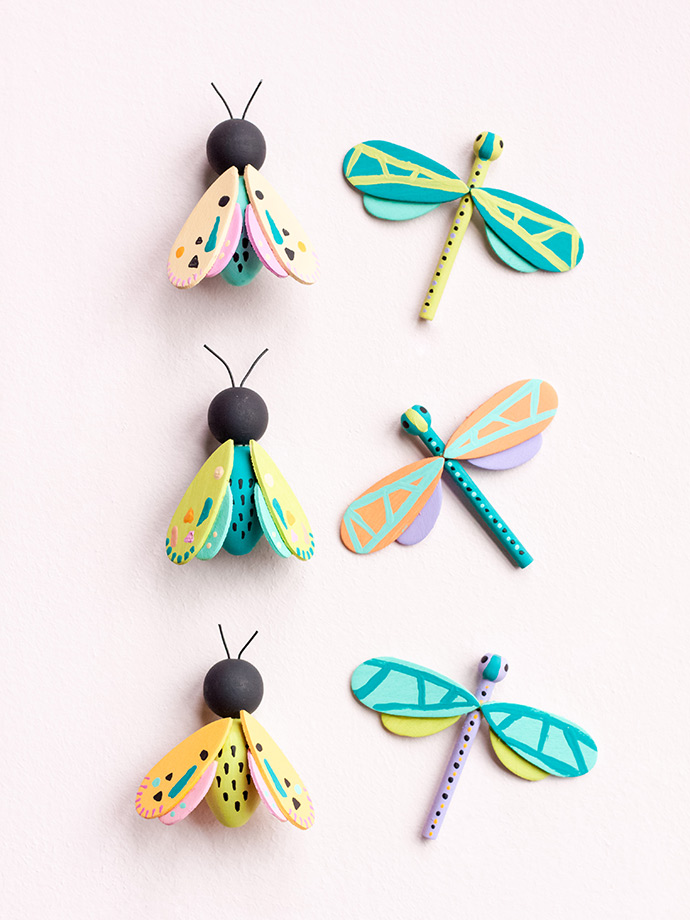Wooden Moths and Dragonflies