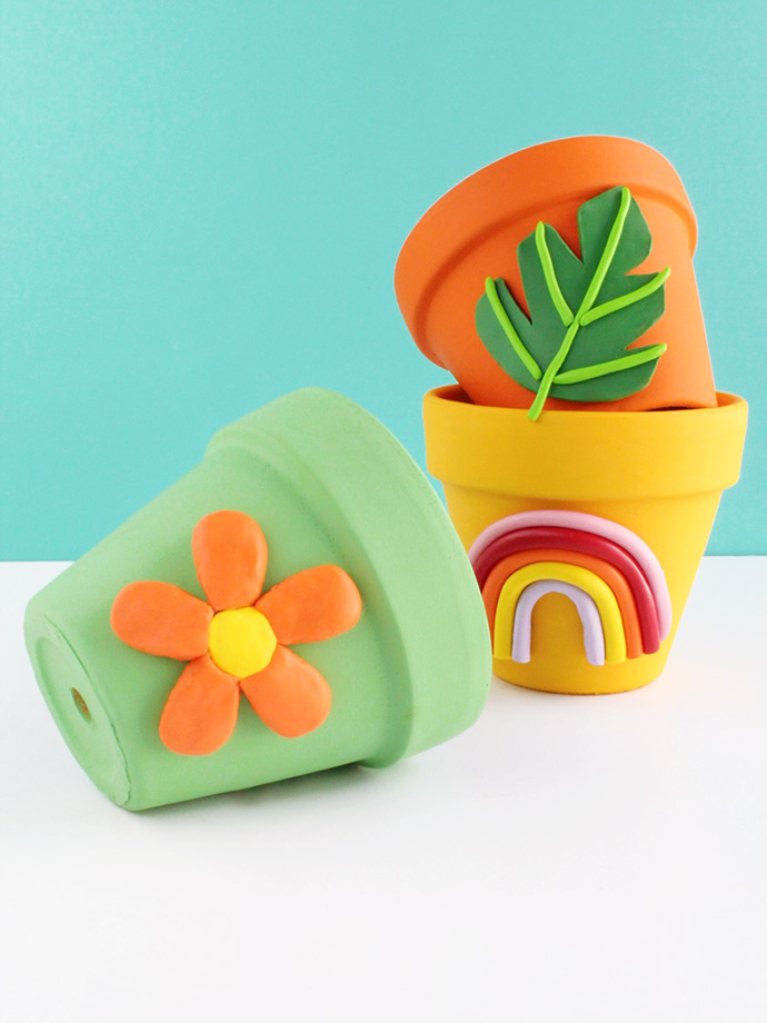 DIY Colorful Clay Planters