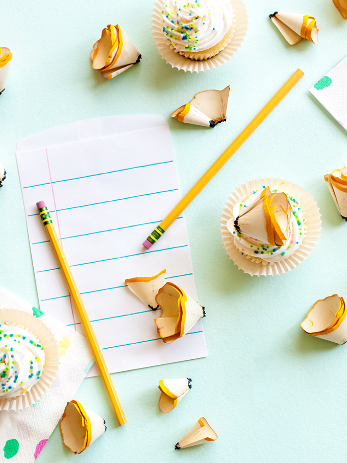 Giant Pencil Shaving Cupcake Toppers