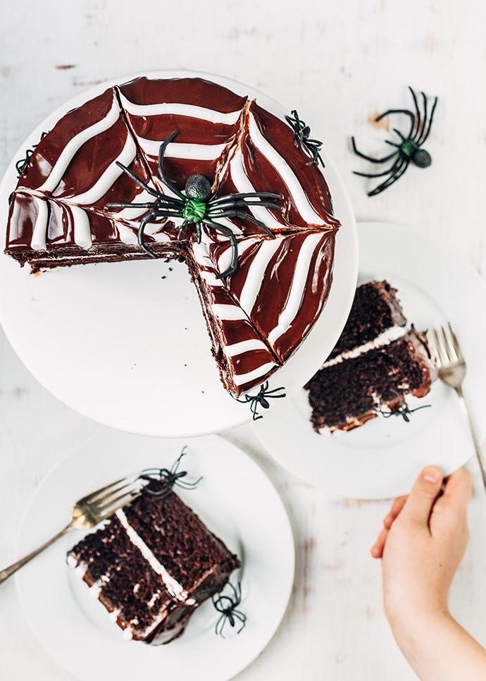 Chocolate Spiderweb Layer Cake