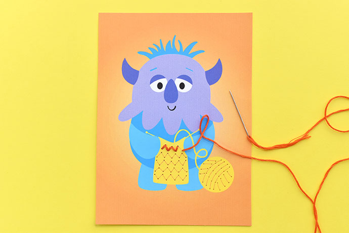 Printable Knitting Monster Stitching Cards