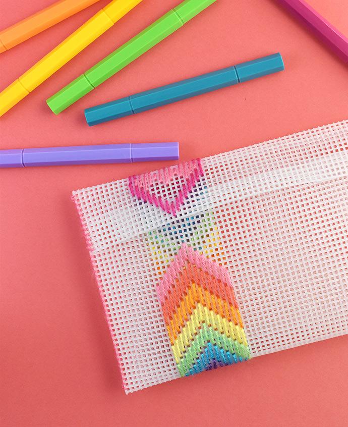 Stitch a Rainbow Plastic Canvas Pouch