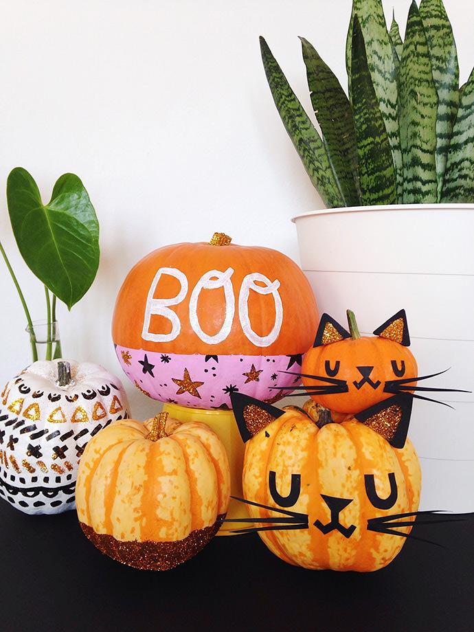 No Carve Glitter Pumpkins