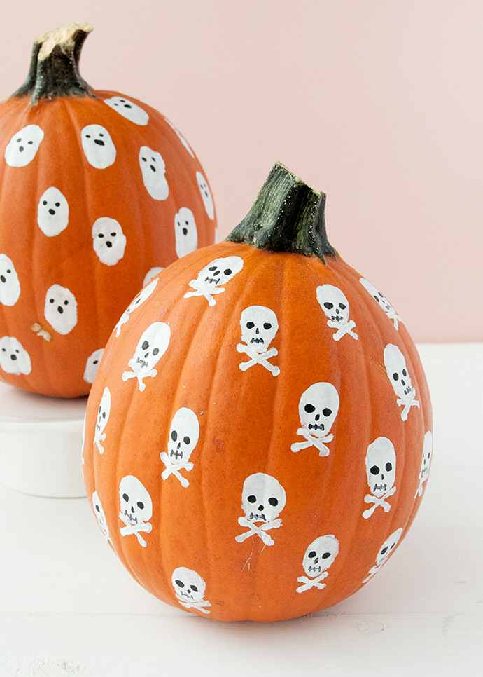 Painted Fingerprint Pumpkins for Kids
