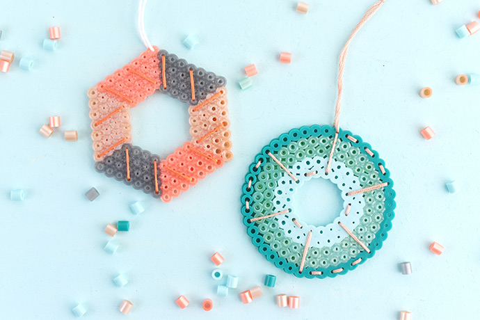 Stitched Perler Bead Ornaments