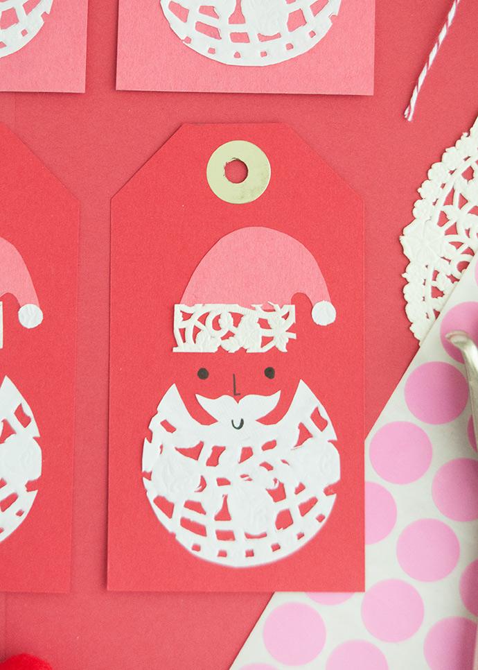 Doily Santa Gift Tags