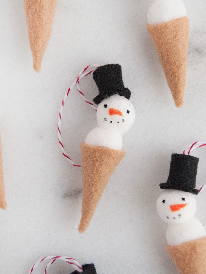 Snowman Ice Cream Cone Ornament