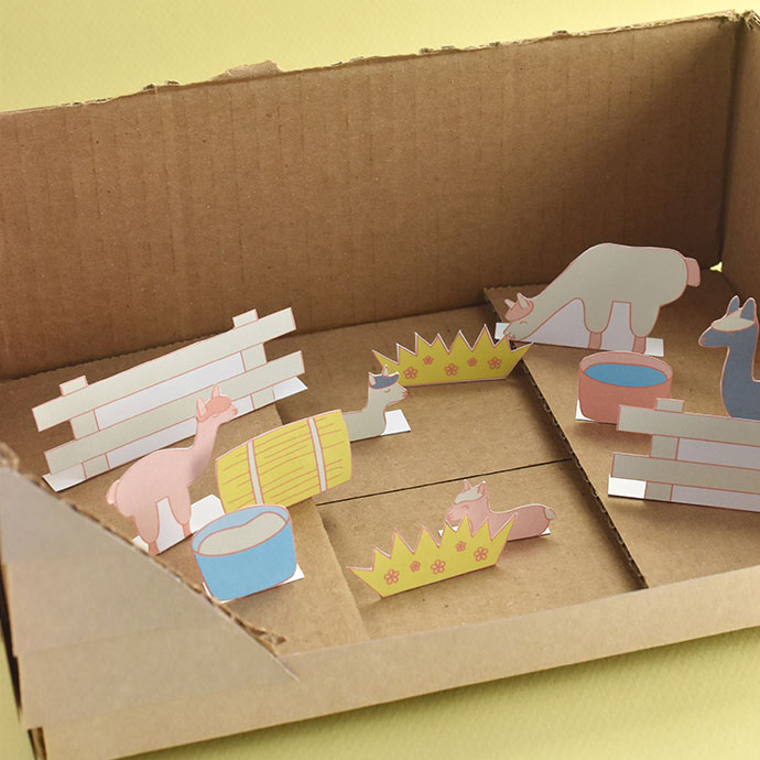 Printable Alpaca Farm Diorama Playset