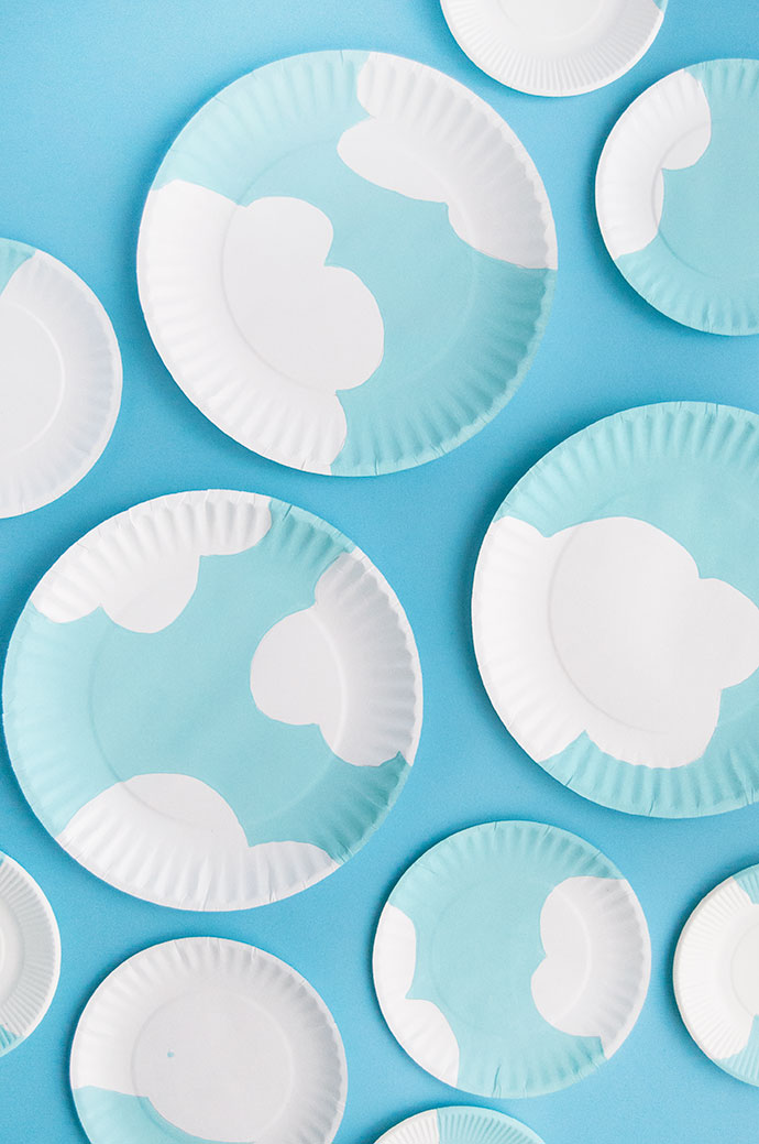 Painted Paper Plate Clouds