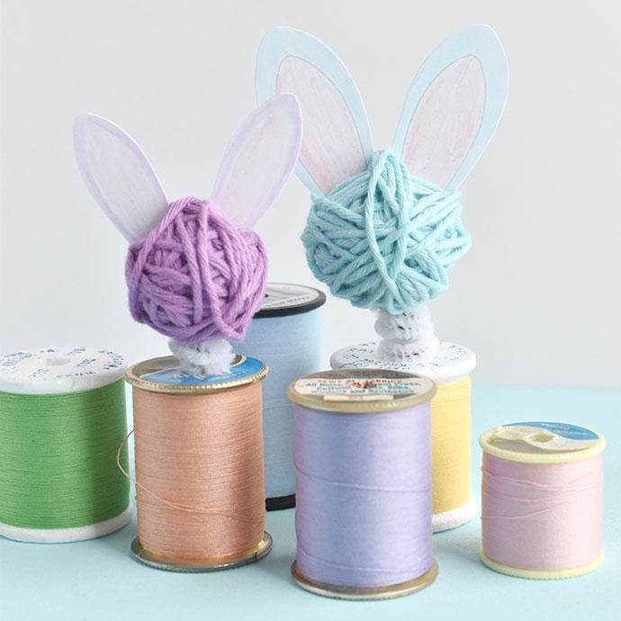 Bunny Bobble-Head Spool Dolls