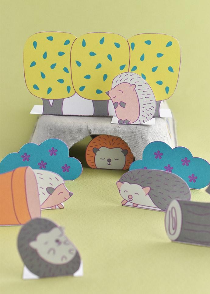 Printable Hedgehog Diorama Playset