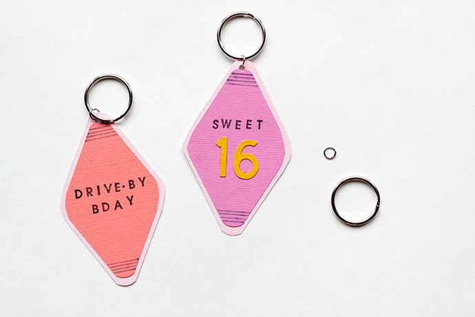 Drive-By Birthday Keychain Invitations