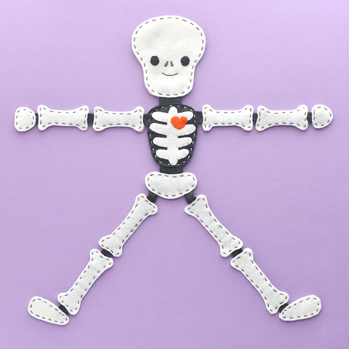 Stitch a Floppy Felt Skeleton