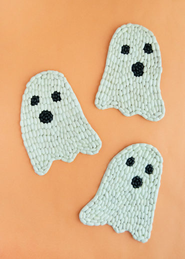 Glow-in-the-Dark Bean Art Ghosts