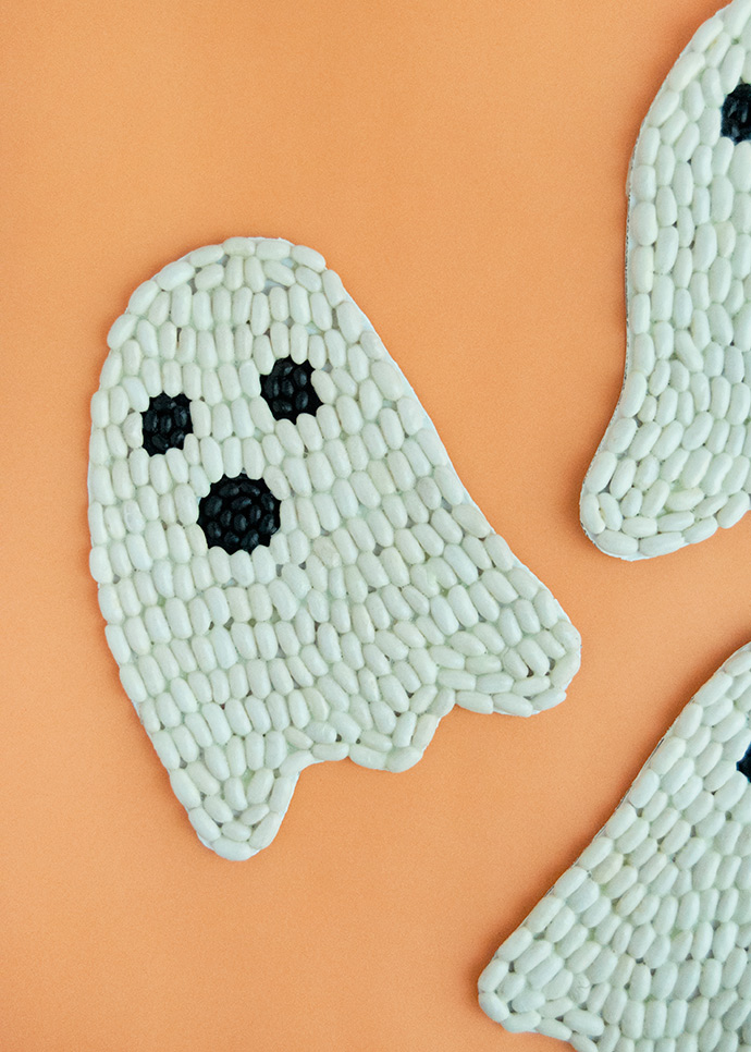 Glow-in-the-Dark Bean Art Ghosts