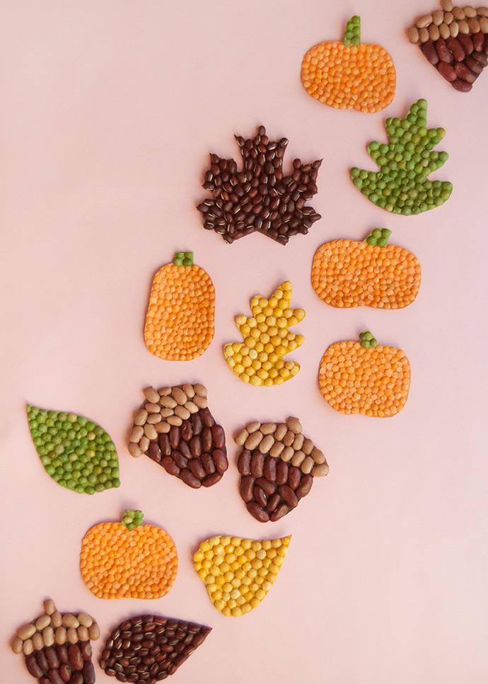 Fall Leaf Bean Mosaics