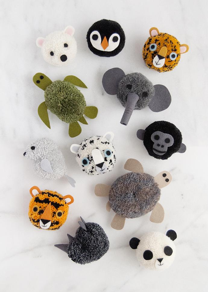 Endangered Animals Pom Poms