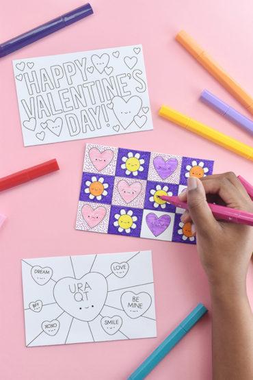 Color-in Postcard Valentines