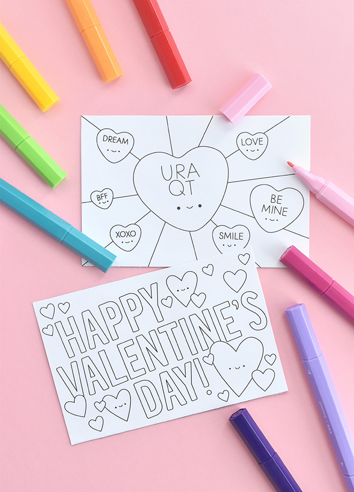 Color-in Postcard Valentines