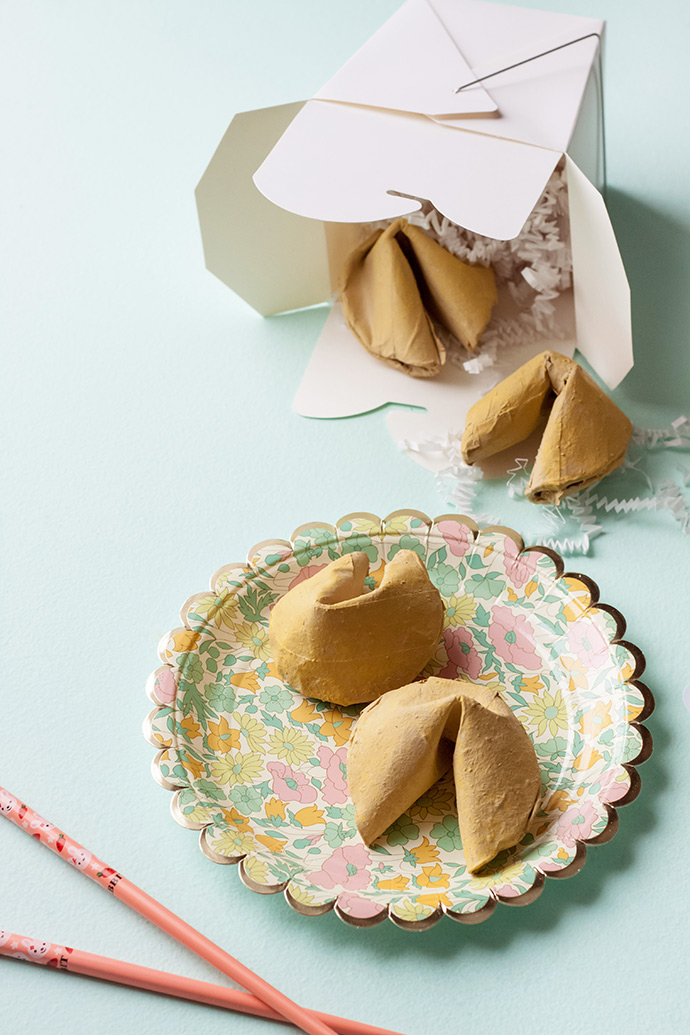 Paper Mache Fortune Cookie Surprise