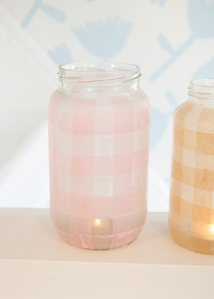 Gingham Glass Jar Lanterns