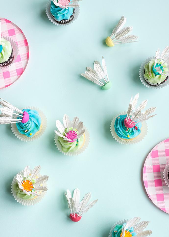 DIY Badminton Birdie Cupcake Toppers